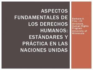 ASPECTOS FUNDAMENTALES DE LOS DERECHOS HUMANOS ESTNDARES Y