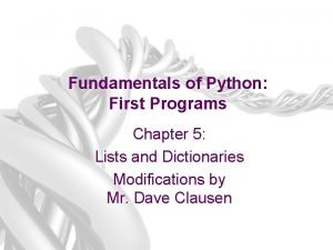 Fundamentals of Python First Programs Chapter 5 Lists