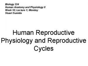 Biology 224 Human Anatomy and Physiology II Week