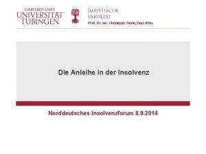 Prof Dr iur Christoph Thole Dipl Kfm Die