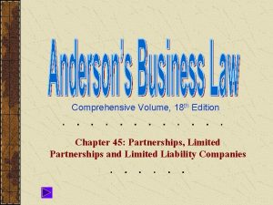Comprehensive Volume 18 th Edition Chapter 45 Partnerships
