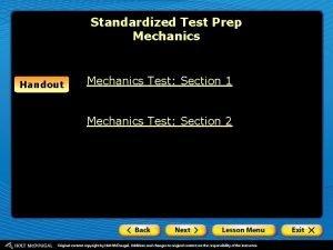 Standardized Test Prep Mechanics Handout Mechanics Test Section
