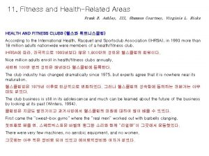 11 Fitness and HealthRelated Areas Frank B Ashley