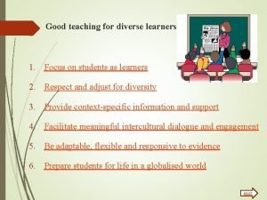 Good teaching for diverse learners 1 Focus on