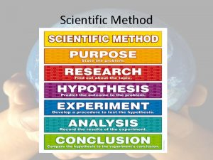 Scientific Method Scientific Method Series of steps to