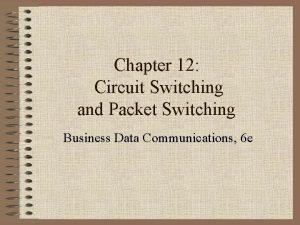 Chapter 12 Circuit Switching and Packet Switching Business