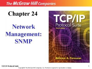 Chapter 24 Network Management SNMP TCPIP Protocol Suite