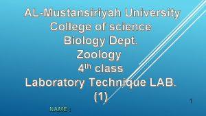 ALMustansiriyah University College of science Biology Dept Zoology