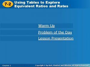 Using Tables toto Explore Using Tables Explore 7