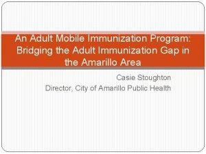 An Adult Mobile Immunization Program Bridging the Adult