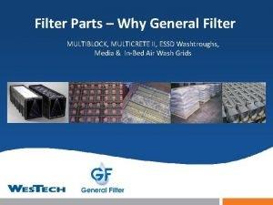 Filter Parts Why General Filter MULTIBLOCK MULTICRETE II