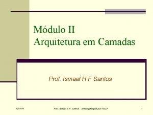 Mdulo II Arquitetura em Camadas Prof Ismael H