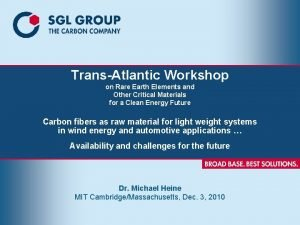 TransAtlantic Workshop on Rare Earth Elements and Other