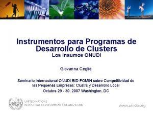 Instrumentos para Programas de Desarrollo de Clusters Los