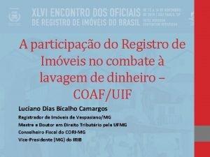 A participao do Registro de Imveis no combate