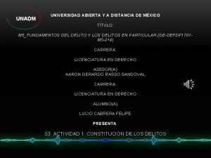UNIVERSIDAD ABIERTA Y A DISTANCIA DE MXICO TTULO