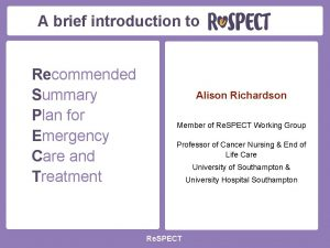A brief introduction to Recommended Summary Plan for