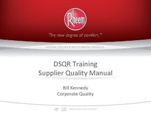 HEATING COOLING WATER HEATING PRODUCTS DSQR Training Supplier