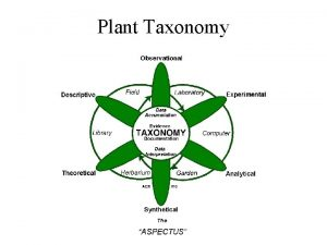 Plant Taxonomy Definitions Taxonomy systematics the study and
