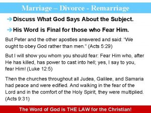 Marriage Divorce Remarriage Discuss What God Says About