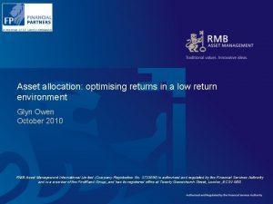 Asset allocation optimising returns in a low return