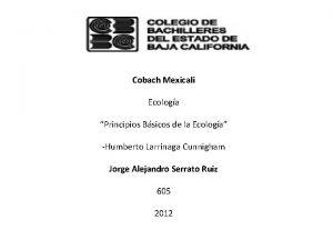 Cobach Mexicali Ecologa Principios Bsicos de la Ecologa