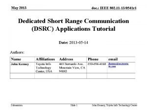 May 2013 doc IEEE 802 11 130541 r