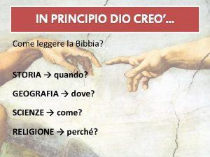 IN PRINCIPIO DIO CREO Come leggere la Bibbia