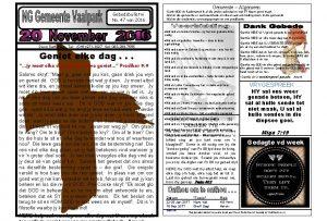 Gemeente Algemeen Gebedsbulletin No 47 van 2016 Dank