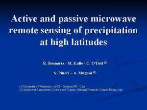 Active and passive microwave remote sensing of precipitation