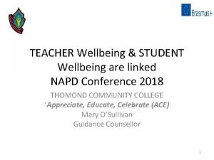 TEACHER Wellbeing STUDENT Wellbeing are linked NAPD Conference