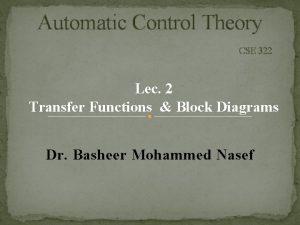 Automatic Control Theory CSE 322 Lec 2 Transfer