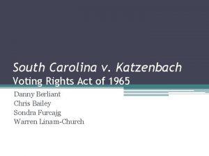 South Carolina v Katzenbach Voting Rights Act of