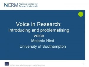 Voice in Research Introducing and problematising voice Melanie