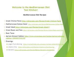 Welcome to the Mediterranean Diet Test Kitchen Mediterranean