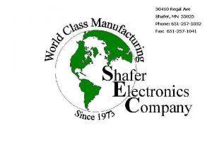 30410 Regal Ave Shafer MN 55025 Shafer Electronics