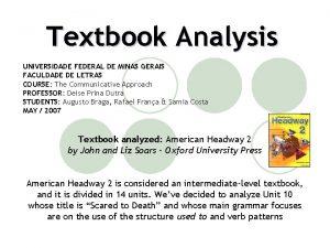 Textbook Analysis UNIVERSIDADE FEDERAL DE MINAS GERAIS FACULDADE