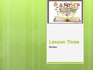 Lesson Three Diction Register The term register is