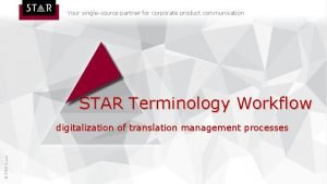 Your singlesource partner for corporate product communication STAR
