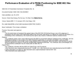 Performance Evaluation of UTDOA Positioning for IEEE 802