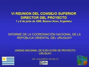 VI REUNION DEL CONSEJO SUPERIOR DIRECTOR DEL PROYECTO