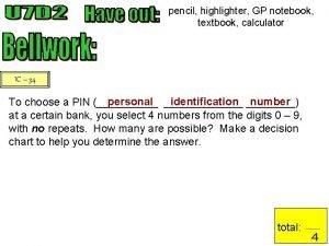 pencil highlighter GP notebook textbook calculator IC 34