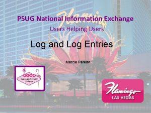 PSUG National Information Exchange Users Helping Users Log