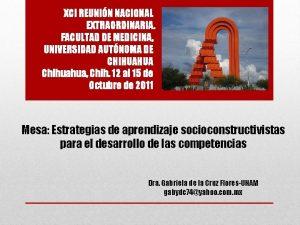 XCI REUNIN NACIONAL EXTRAORDINARIA FACULTAD DE MEDICINA UNIVERSIDAD