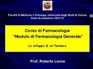 Facolt di Medicina e Chirurgia Universit degli Studi