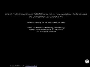 Growth Factor Independence1 Gfi 1 Is Required for