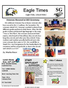 Eagle Times Eagle Pride School Wide SG S