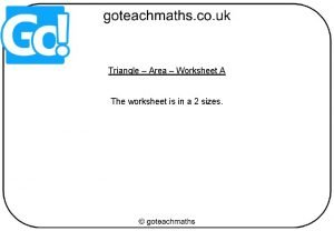 Triangle Area Worksheet A The worksheet is in