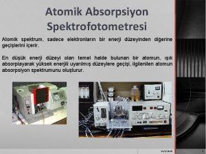 Atomik Absorpsiyon Spektrofotometresi Atomik spektrum sadece elektronlarn bir