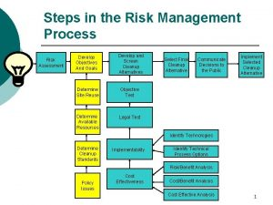 Steps in the Risk Management Process Risk Assessment